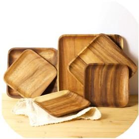 長方形の正方形の木製パンプレートフルーツ皿ソーサー茶トレイデザートディナーパンウッドプレート、16.5X12.5X2Cm