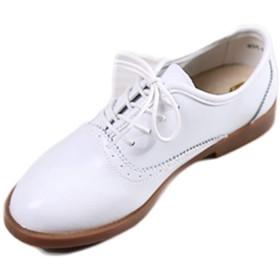 [ブウケ] オックスフォードシューズ 学生靴 レースアップシューズ レディース 25.0cm 通勤 通学 ローヒール 紐靴 かわいい ホワイト ラウンドトゥ フォーマル おじ靴 原宿 ファッション パンプス 日常 デイリー 女性用 マニッシュシューズ