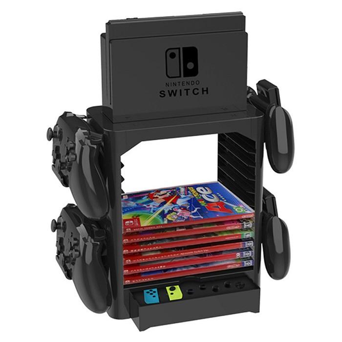 【NS】Nintendo Switch 主機直立+遊戲周邊收納組(副廠)