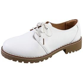 [ブウケ] 靴紐 ホワイト レディース オックスフォードシューズ レースアップ シューズ ドレスシューズ カジュアルシューズ レースアップシューズ おじ靴 クッション パンプス 27.0cm 脱げない 痛くない 歩きやすい マニッシュシューズ