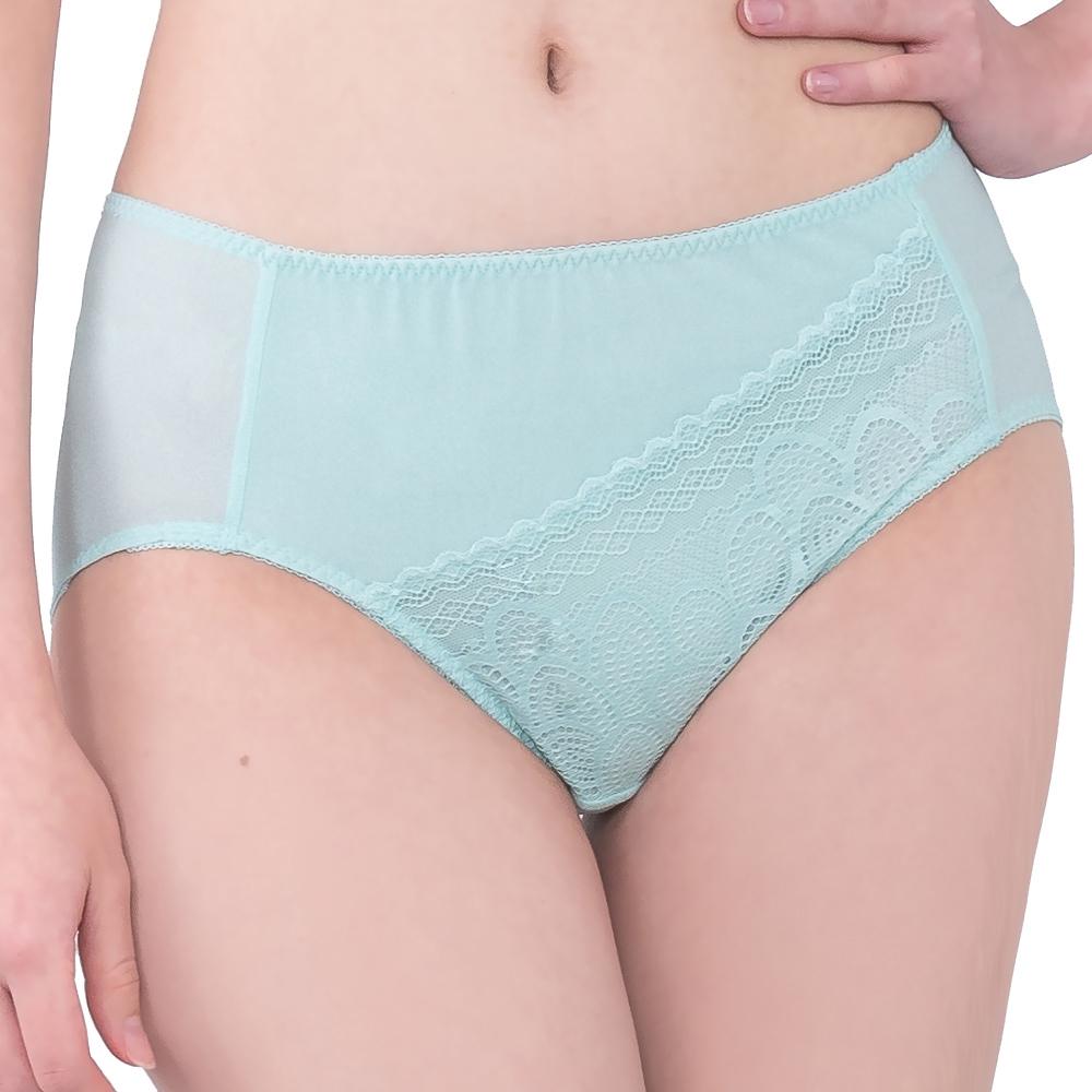 SWEAR 思薇爾 花月夜系列M-XXL蕾絲中腰三角內褲(彈珠綠)