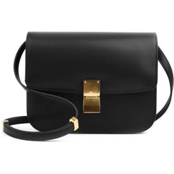 野生の女性のバッグ、シンプルなミニ豆腐バッグ、小さな正方形のバッグ、革のレトロなショルダーバッグ、斜めのスチュワーデスバッグ、-black-M