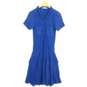 【中古】ラコステ LACOSTE ワンピース ポロシャツ ロング ミモレ 切替 フレア 半袖 コットン シルク 34 ブルー