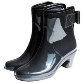 [ポンパドール] Back Ribbon Short Rain Boot (PD069) M Black/Brown