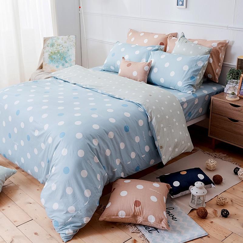 戀家小舖 100%精梳棉【水星藍】床包枕套組 40支精梳棉 點點小宇宙 台灣製 單人/雙人/加大