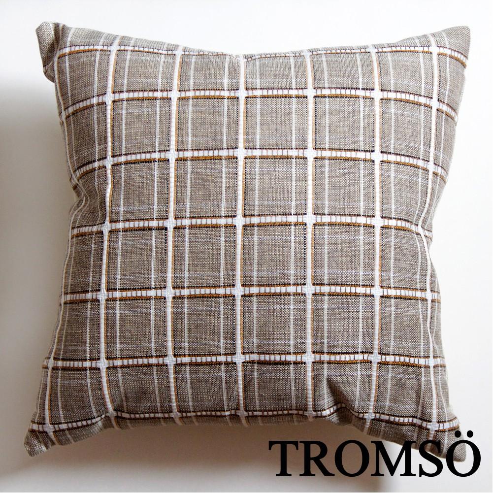 現貨 TROMSO棉麻抱枕-U192英倫格子淺咖/枕芯 撞色 北歐 方格 水洗 大尺寸 靠枕 【H0326231】