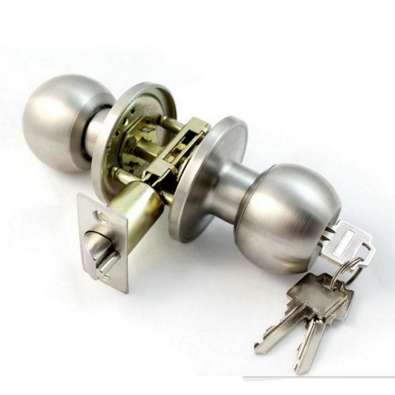 巴弟 高級不鏽鋼門鎖 喇叭鎖~房間/浴室~附鎖匙 (白鐵色)【DO288-90】