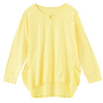 49%OFF【レディース】 アクセサリー付きプルオーバー(7分袖)(日本製・保湿) ■カラー:カナリヤイエロー ■サイズ:L