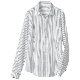 【レディース】 形態安定切り替えシャツ(長袖)(抗菌防臭・UVカット) ■カラー:ストライプB(モノトーン系) ■サイズ:M,L,LL,3L