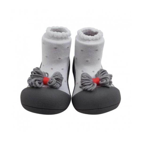 韓國 Attipas 快樂腳襪型學步鞋-灰點領結【麗兒采家】