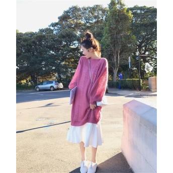 【クーポン併用で最安値更新】 韓国ファッション 気質 大きいサイズ 女性 ゆったりする スリム ニットトップ サスペンダースカート ツーピース セット