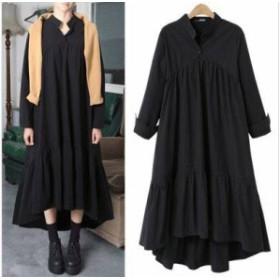 新作 シャツワンピース シャツワンピ 大きいサイズ 4XL 長袖 ワンピース プリーツスカート シャツワンピ ブラック 黒 20