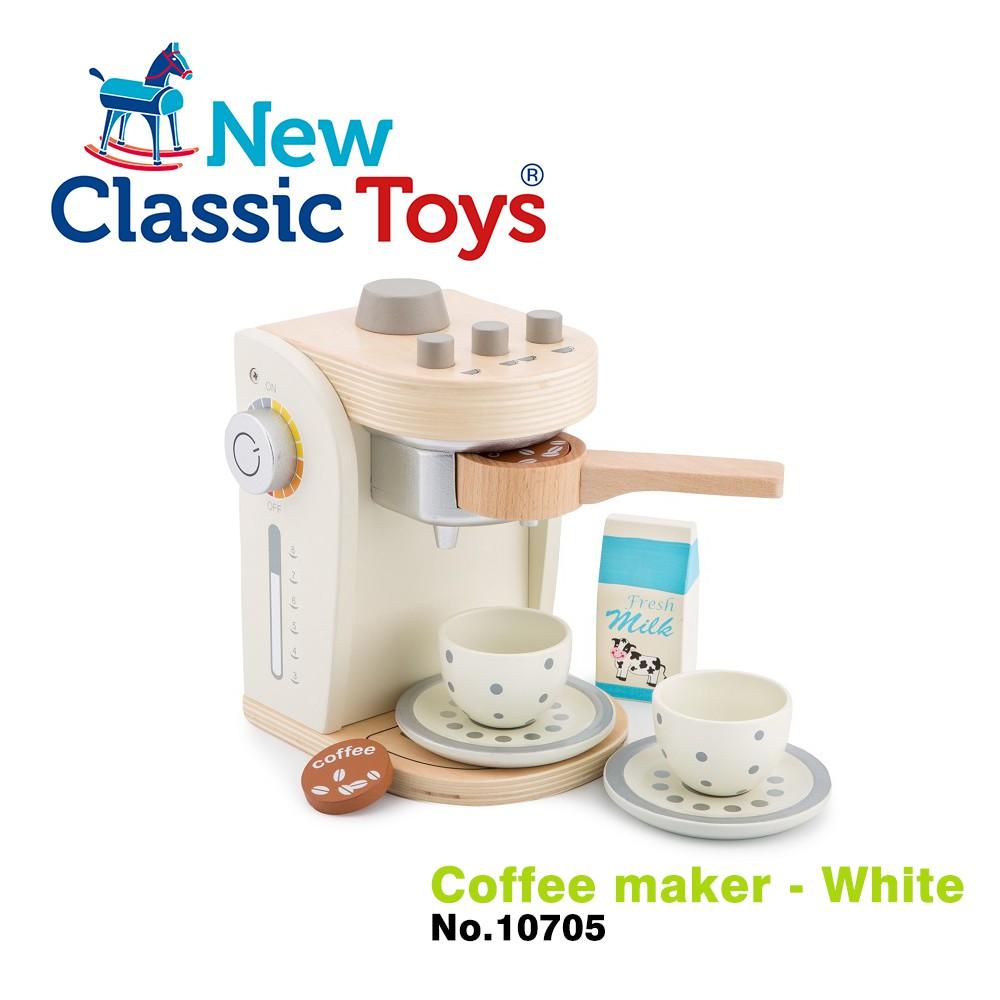 【荷蘭New Classic Toys】木製家家酒咖啡機 - 優雅白 - 10705