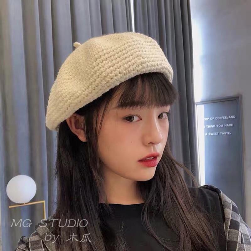 木瓜製品/日本古著手工編織毛線貝雷帽子女秋冬純色復古文藝畫家帽