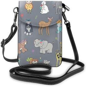 多機能レザー電話財布、軽量スモールショルダークロスボディポーチ、女性用調節可能ストラップ付きトラベルバッグ、さまざまなキリン象