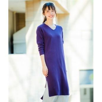 カシミヤタッチ重ねVネックニットワンピース (ワンピース)Dress, 衣裙, 連衣裙