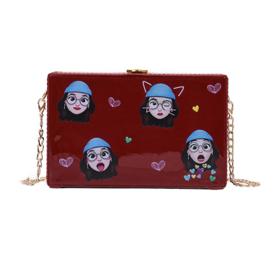 金屬鏈花卉卡通印花 少女 小方包 爆炸可愛的包包 PU皮包 休閒女士單肩包 斜挎包女包(潮可)