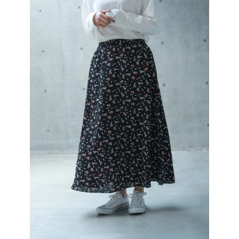 【6,000円(税込)以上のお買物で全国送料無料。】花柄マキシスカート
