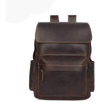 メンズバッグ クレイジーホースレザーメンズビジネスバックパックレトロメンズレザートラベルバックパックラップトップバックパック 大容量 バッグ (Color : Dark Brown, Size : 15 inches)