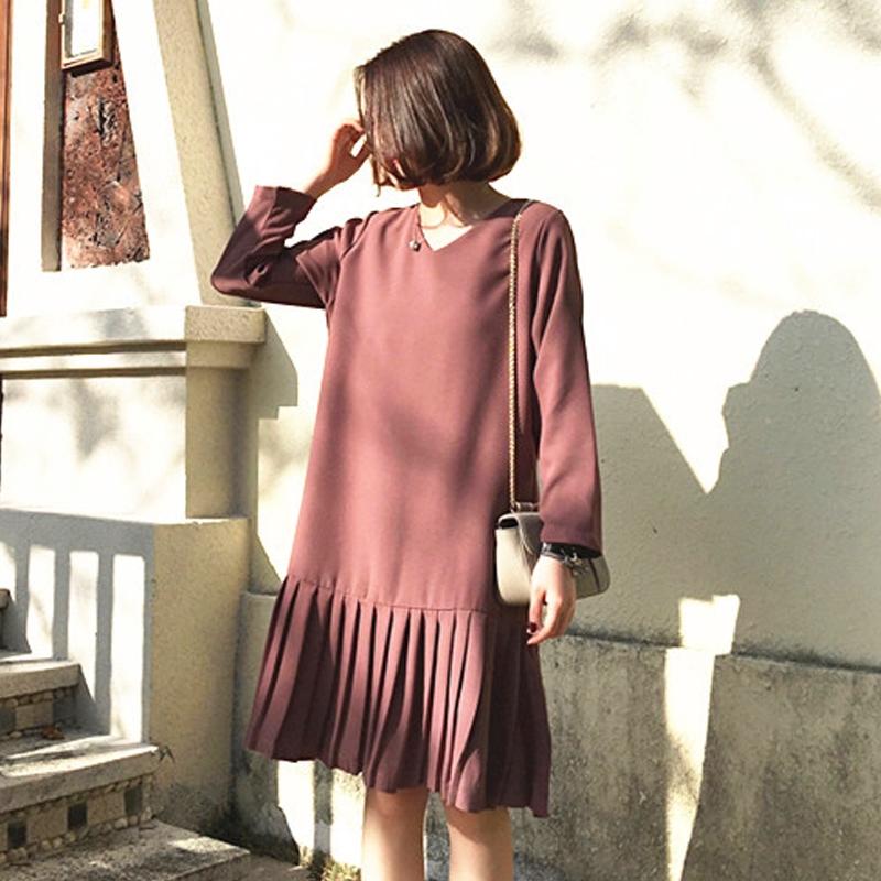 M-4XL大尺碼衣著胖妹妹秋裝新款適合胯大腿粗的裙子微胖mm洋裝寬鬆顯瘦