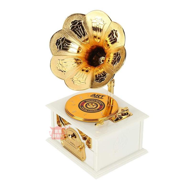 復古留聲機上鏈音樂盒 創意留聲機造型音樂桌面裝飾擺件復古八音盒 交換禮物 生日禮物 附發票【賣貴請告知】