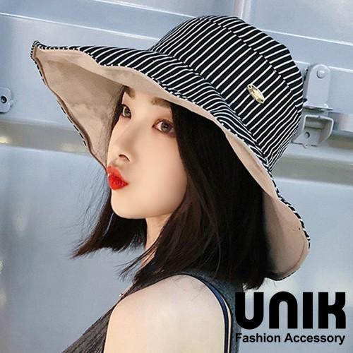 【現貨】UNIK 典雅條紋雙面遮陽布帽(黑)