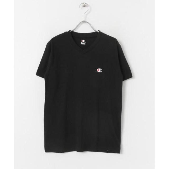センスオブプレイス Champion VネックTシャツ(半袖) メンズ BLACK XL 【SENSE OF PLACE】