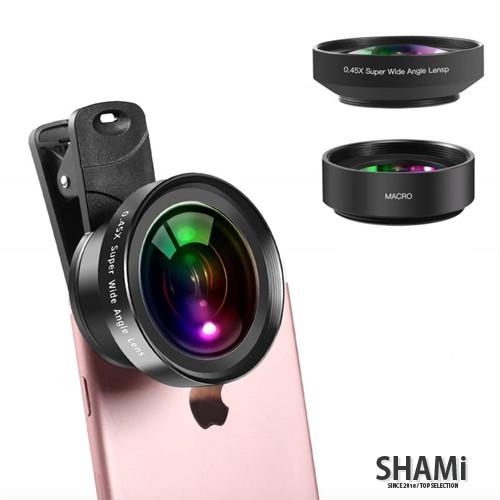 手機廣角鏡頭 0.45X【抗扭曲變形】廣角+微距 三合一 套裝 iphone 外置自拍 外拍 LENS【SA826】
