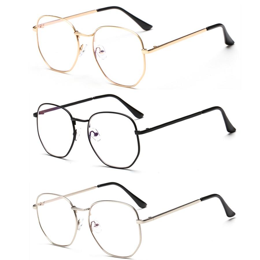 【現貨】網紅同款複古簡約素顔眼鏡框個性金屬平光鏡男女眼鏡 平光鏡 男女眼鏡 現貨批發價 芒果飾品T528