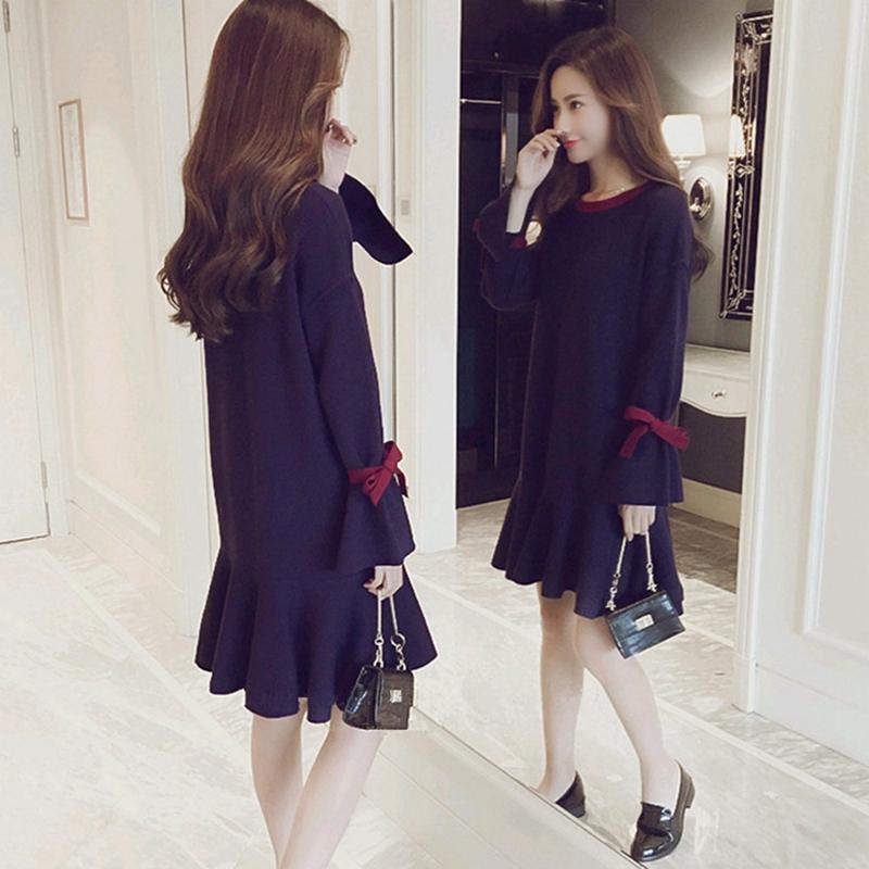 M-4XL大尺碼衣著秋冬季女裝很仙的遮肚顯瘦打底衫胖妹妹洋氣中長款針織洋裝