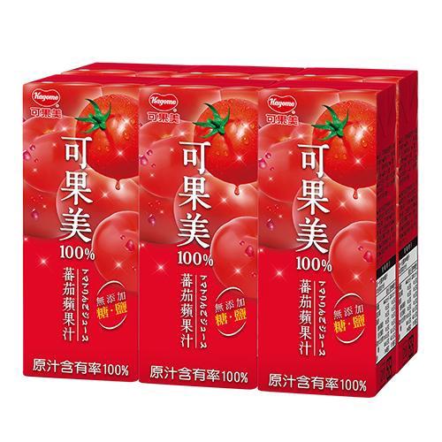 可果美蕃果園100%蕃茄蘋果汁200ml*6【愛買】