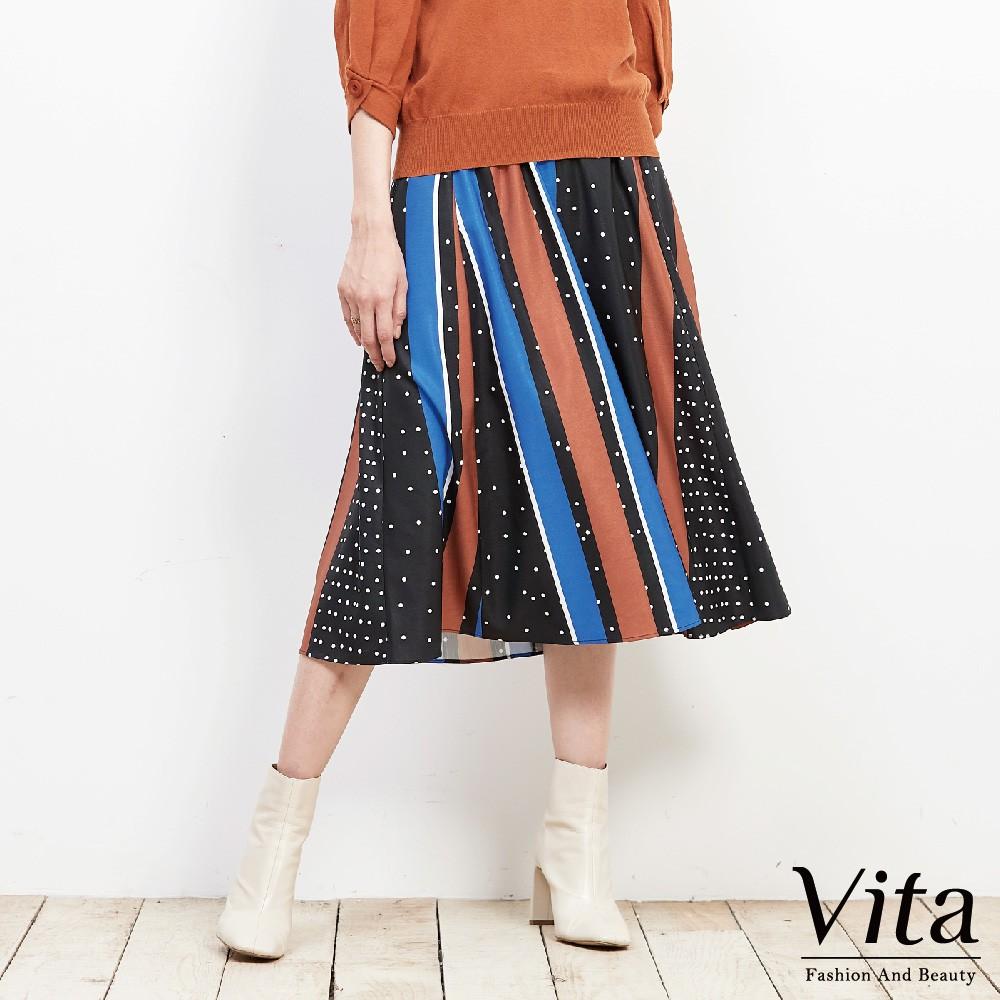 Vita-點點拼接色彩傘裙-黑-9360-62652-20