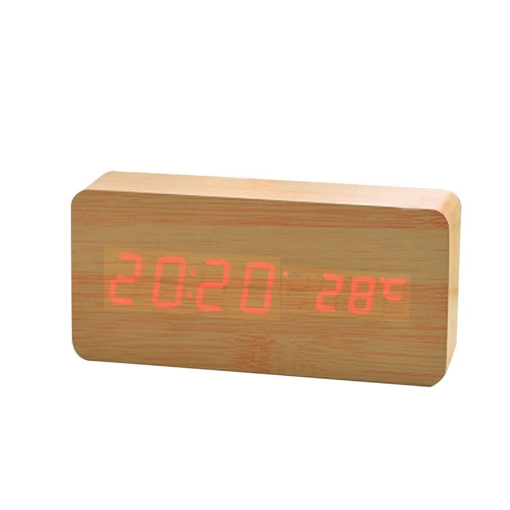 歐風 LED木質方形鬧鐘 L 原木色款(紅燈)