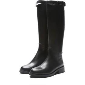 [XYJP] ライディングブーツ ローヒール レディース ロングブーツ おしゃれ シンプル 幅広 甲高 黒 エンジニアブーツ 走れる シンプル 歩きやすい 24.0cm 長靴 防滑 防水 アンクルブーツ マーティンブーツ
