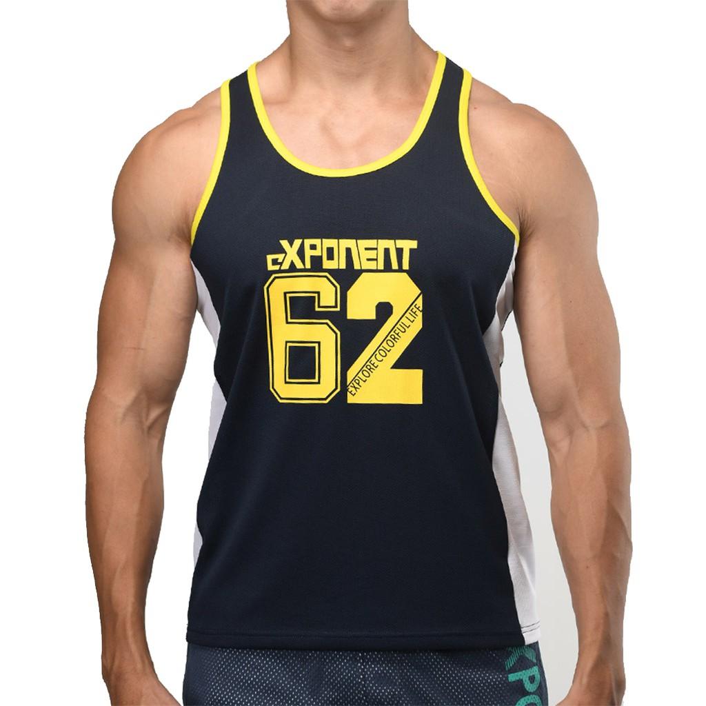 eXPONENT 學院風 NO.62 男 吸濕排汗 運動挖背 背心 海軍藍