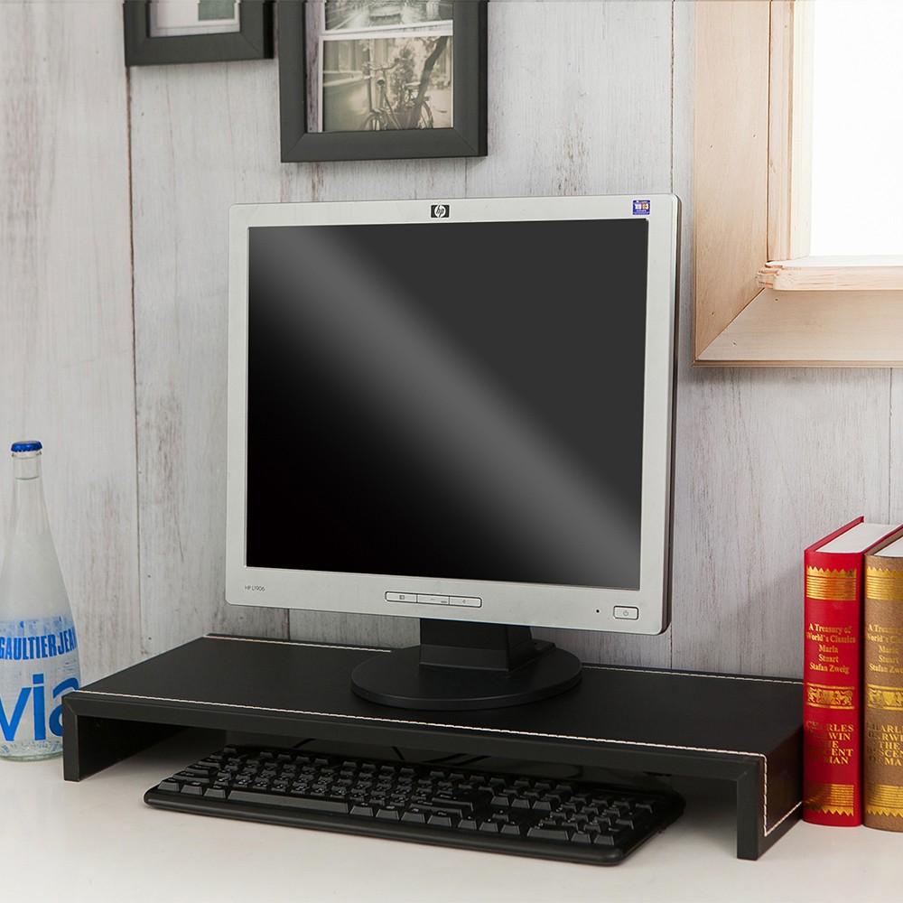 加寬版65公分手縫皮革螢幕架【誠田物集】桌上架/置物架/電腦架/鍵盤架/收納架/ㄇ型架 ST005