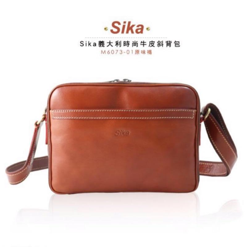Sika義大利時尚牛皮斜背包M6073-01原味褐