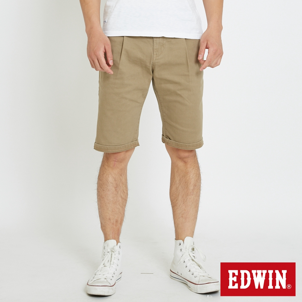 EDWIN 基本休閒打摺短褲(褐色)-男款