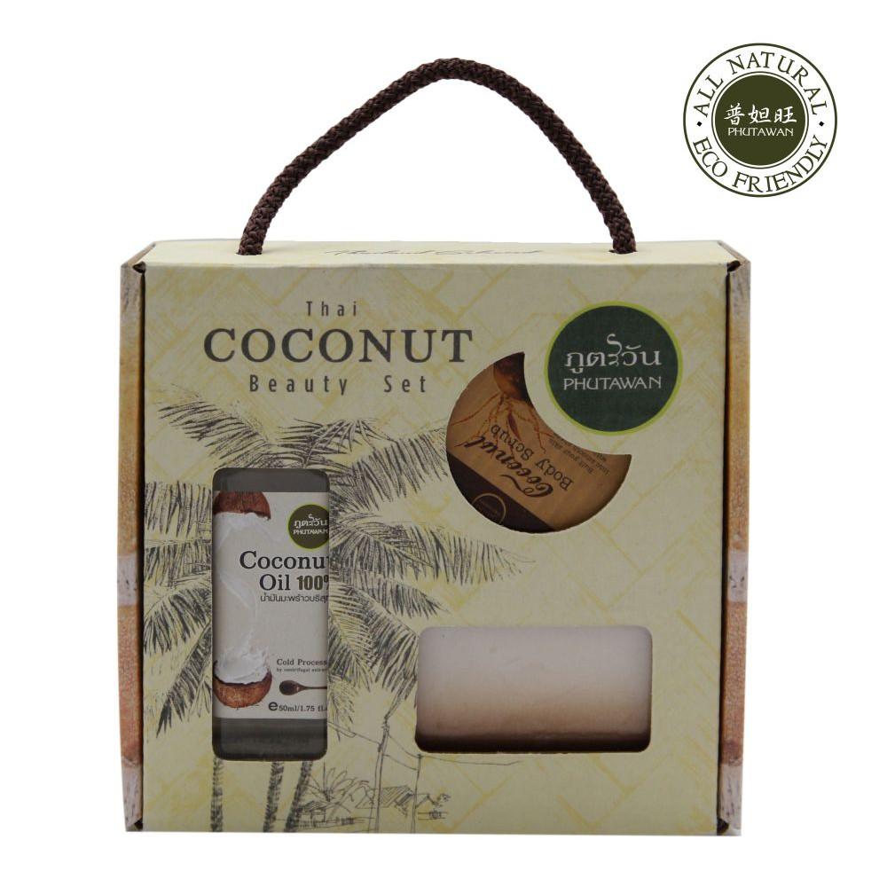 品牌: 【PHUTAWAN普妲旺】貨源: 公司貨普妲旺椰子三入精選組 (Coconut Beauty Set)1.椰奶磨砂膏 (Coconut body scrub)成分: 椰子油/硬脂酸/胡桃核殼粉