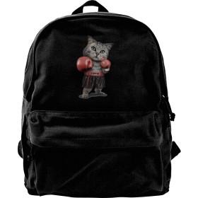 ボクシンググローブ 猫 Love リュックサック キャンバス メンズ リュック バックパック ショルダーバッグビジネスリュック カジュアル DIY可能 オシャレ大容量 お出かけ 通学 通勤 旅行 ブラック ユニセックス