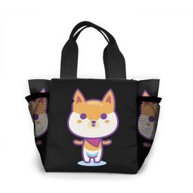 可愛い ケジ犬 大容量ハンドエコバッグ トートバッグ ランチバッグ買い物袋手提げ袋両側の独立した網袋 通勤 通学 旅行