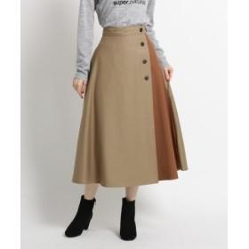 (Dessin/デッサン)【SサイズーLサイズあり、洗える、ウエスト後ろゴム】ツイル配色ボタンスカート/レディース サンドベージュ(553)