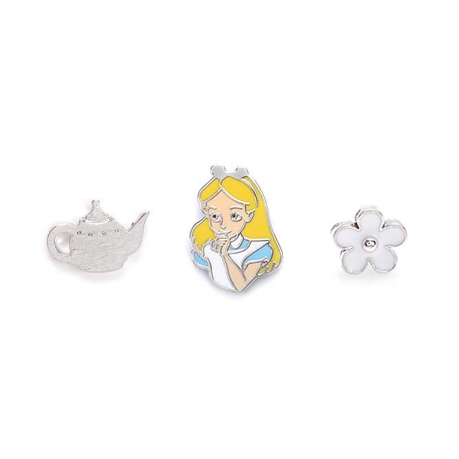 【迪士尼正版授權】微笑愛麗絲午茶聚會組合貼耳環