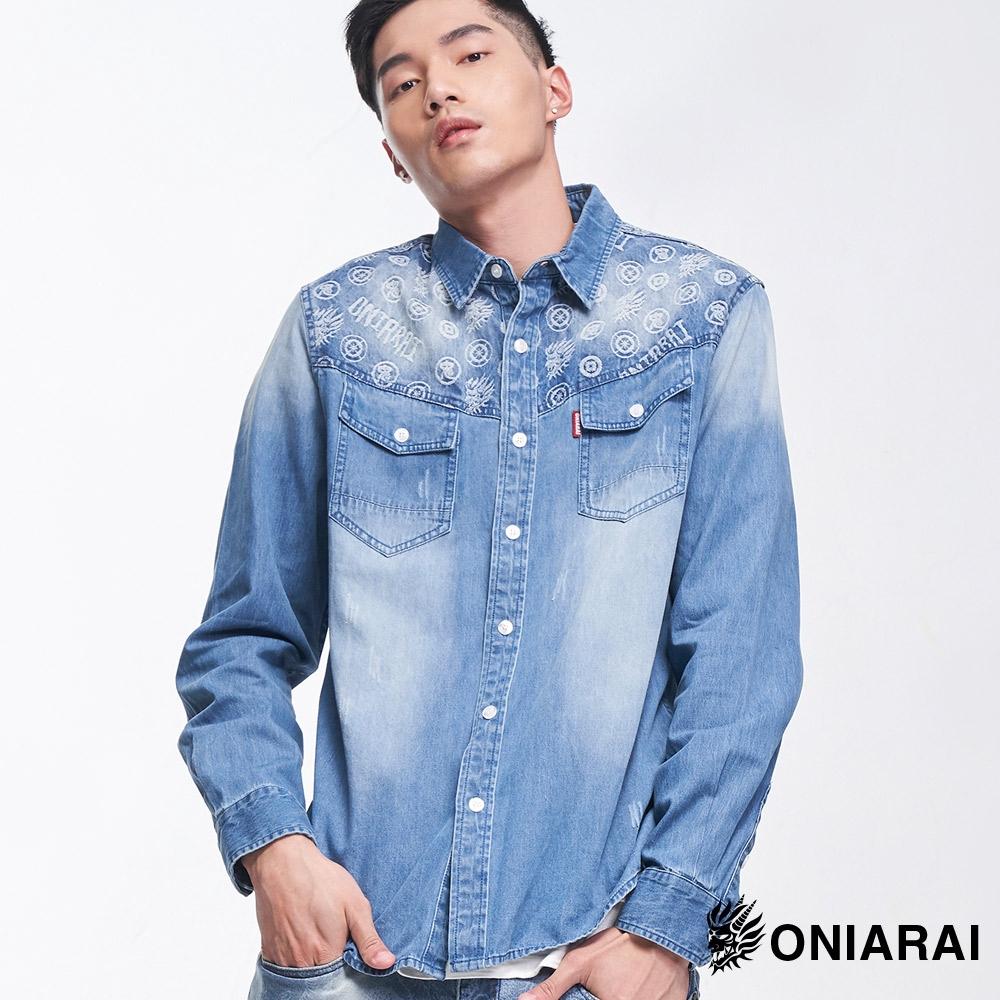 BLUE WAY 鬼洗 ONIARAI-牛仔襯衫/潮流鬼洗剪接緹花