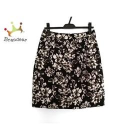 エムズグレイシー スカート サイズ40 M レディース 美品 黒×アイボリー×マルチ 刺繍/フラワー   スペシャル特価 20191225