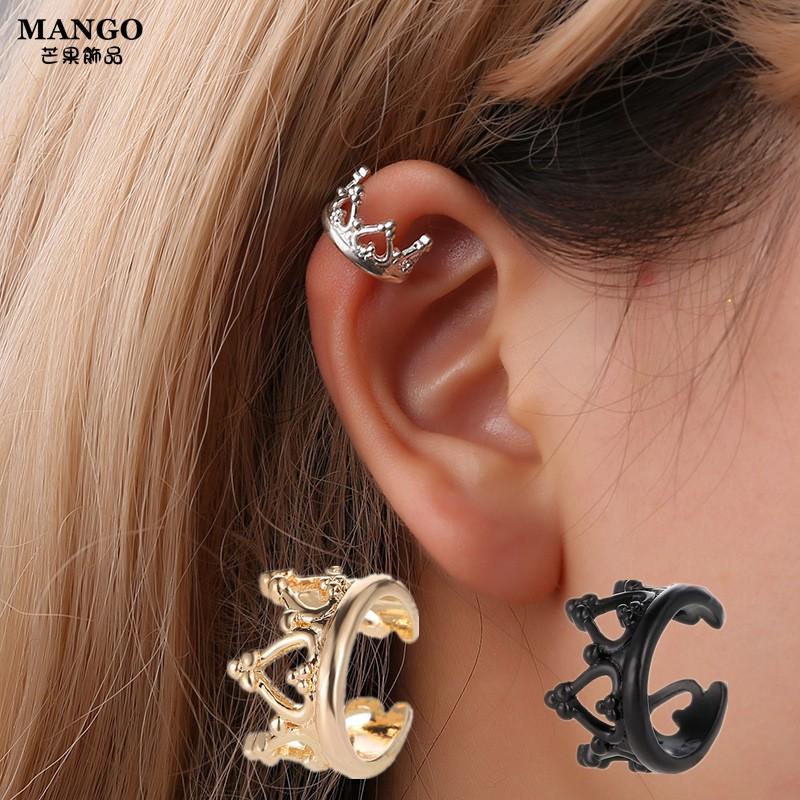 【現貨】韓版無耳洞女耳飾品T851皇冠U型耳夾心型镂空複古式耳環簡約耳扣耳飾批發