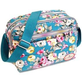 女性はキャンバスのメッセンジャーバッグのショルダーバッグの女性のレトロな花の装飾小さな四角いバッグハンドバッグ#F、スカイブルーをエンボス加工しました