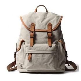 メンズバッグ 男性キャンバスレザーバックパック大容量ファッション多機能レジャートラベルバッグ レザーバッグ (Color : Beige, Size : 19 Inches)