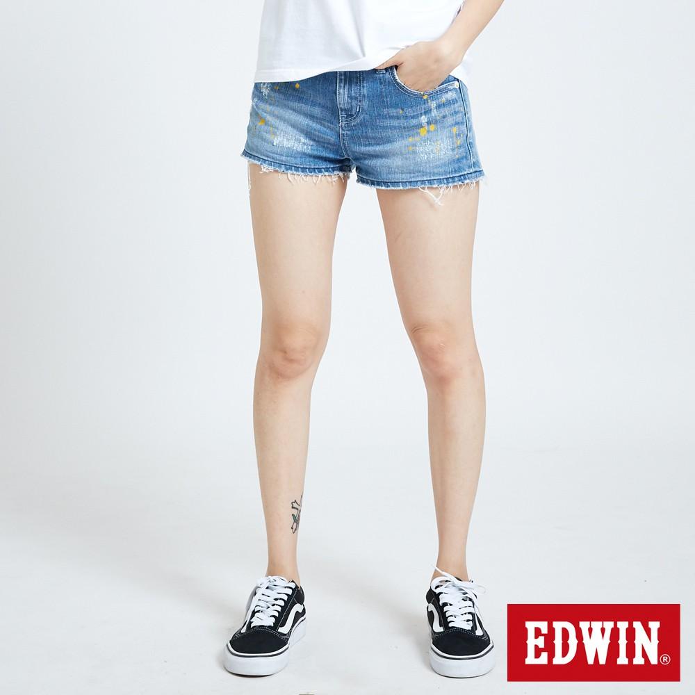 EDWIN 503重加工潑漆牛仔短褲(漂淺藍)-女款