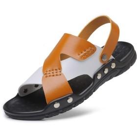 [Jusheng-shoes] メンズシューズ 男性のための新しいアウトドアサンダル夏の漁師スリッパビーチシューズリベット補強オープントゥステッチマイクロファイバーレザーアンチスリップ カジュアルシューズ (Color : Brown-White, サイズ : 24.5 CM)